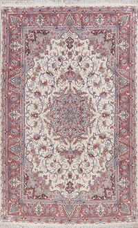 Ivory Floral Tabriz Persian Area Rug 6x10