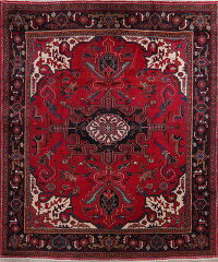 Geometric Red Heriz Serapi Persian Area Rug 8x10