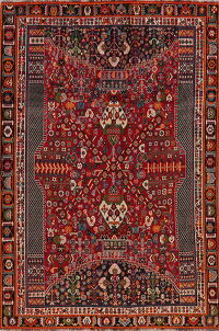 Tribal Geometric Red Kashkoli Persian Area Rug 6x9