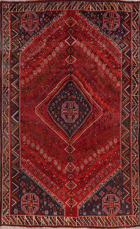 Vintage Geometric Red Abadeh Persian Area Rug 6x9
