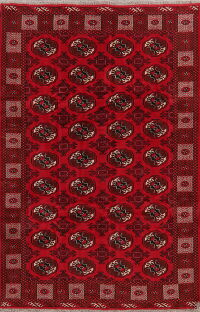 All-Over Geometric Red Balouch Persian Area Rug 6x10