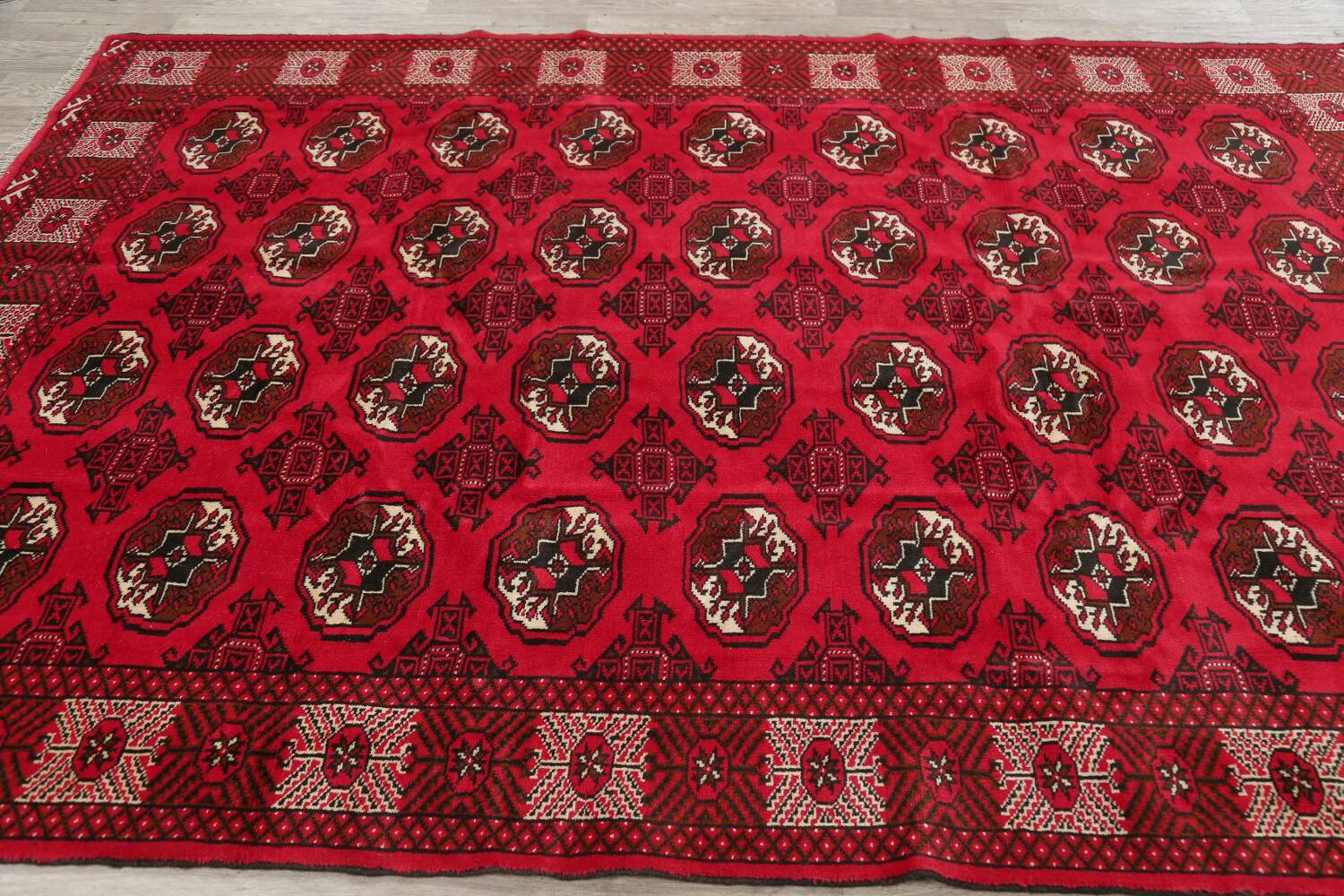 All-Over Geometric Red Balouch Persian Area Rug 6x10 image 12