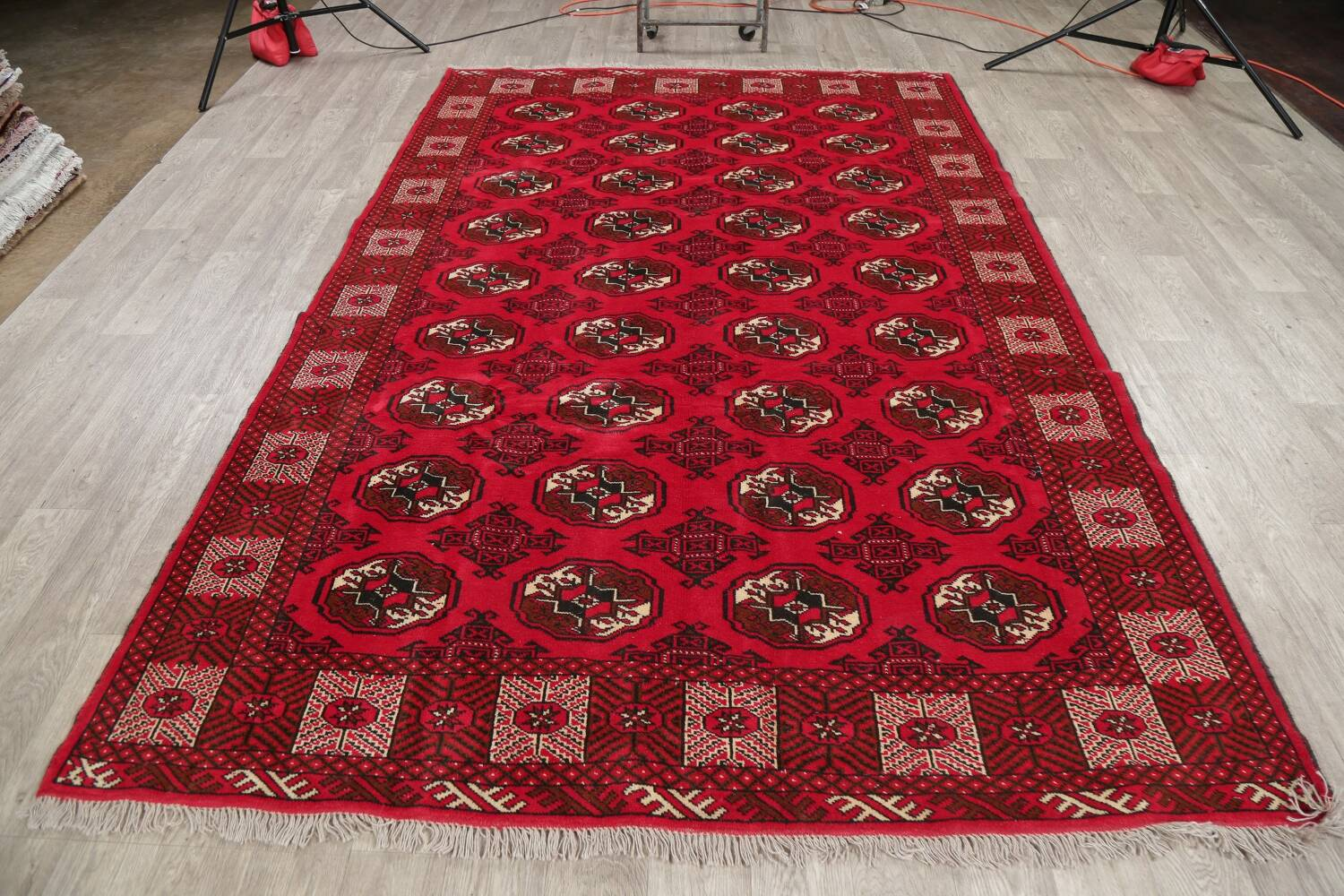 All-Over Geometric Red Balouch Persian Area Rug 6x10 image 13