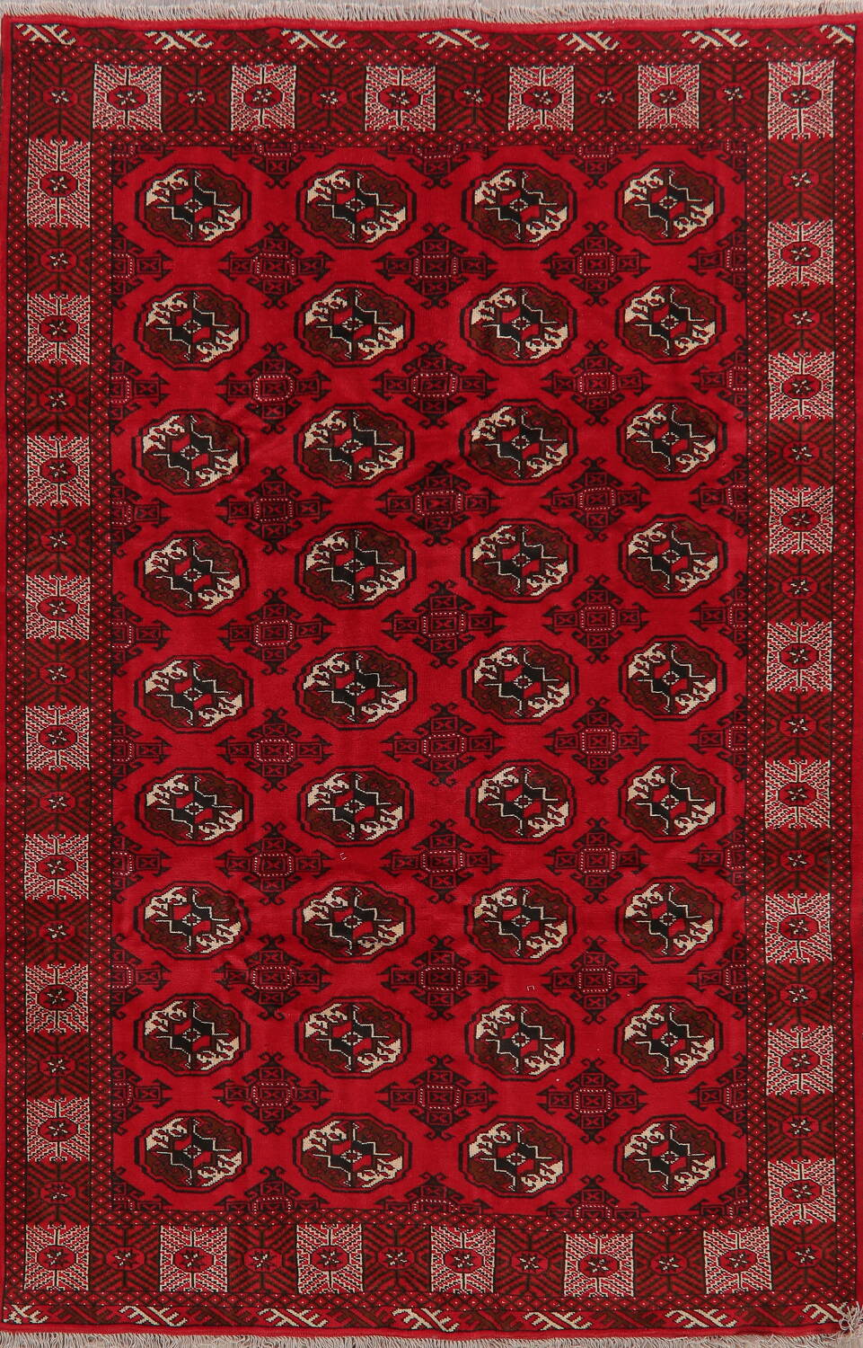 All-Over Geometric Red Balouch Persian Area Rug 6x10 image 1