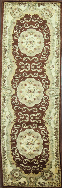 Victorian Style Aubusson Brown Runner Rug 3x9