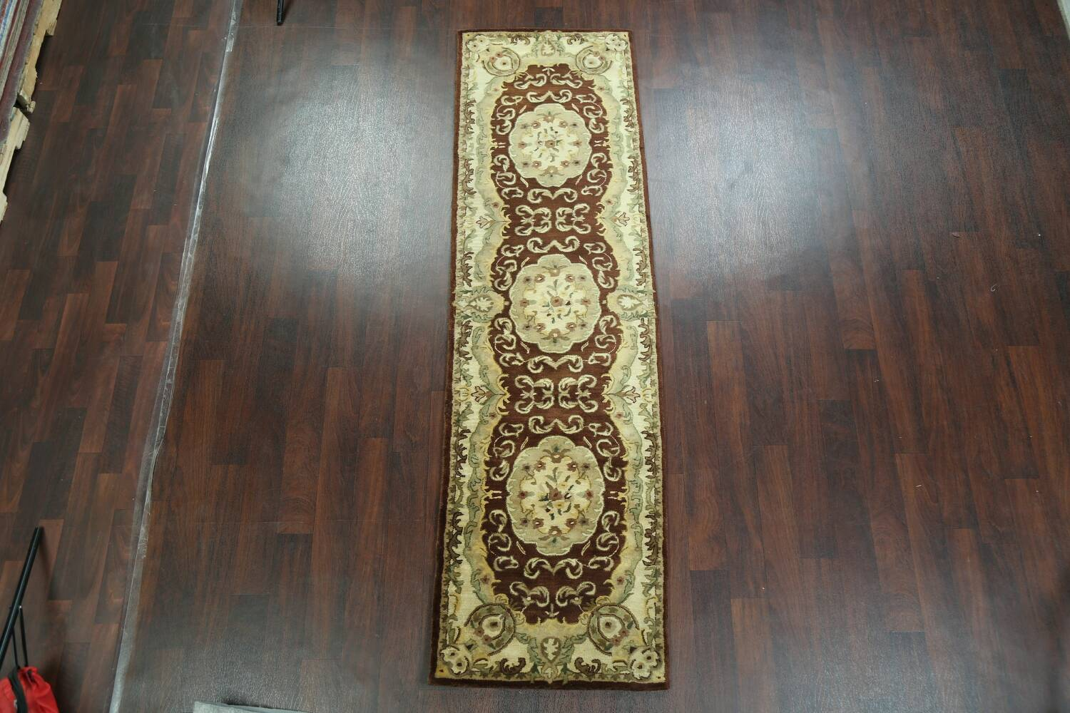 Victorian Style Aubusson Brown Runner Rug 3x9 image 2