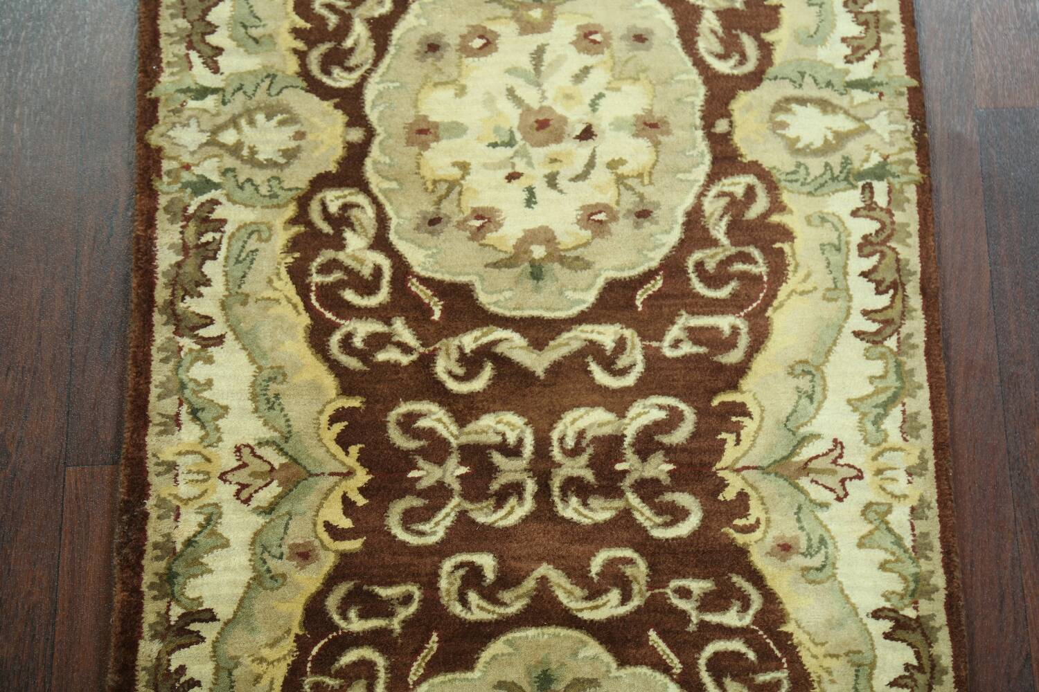 Victorian Style Aubusson Brown Runner Rug 3x9 image 3