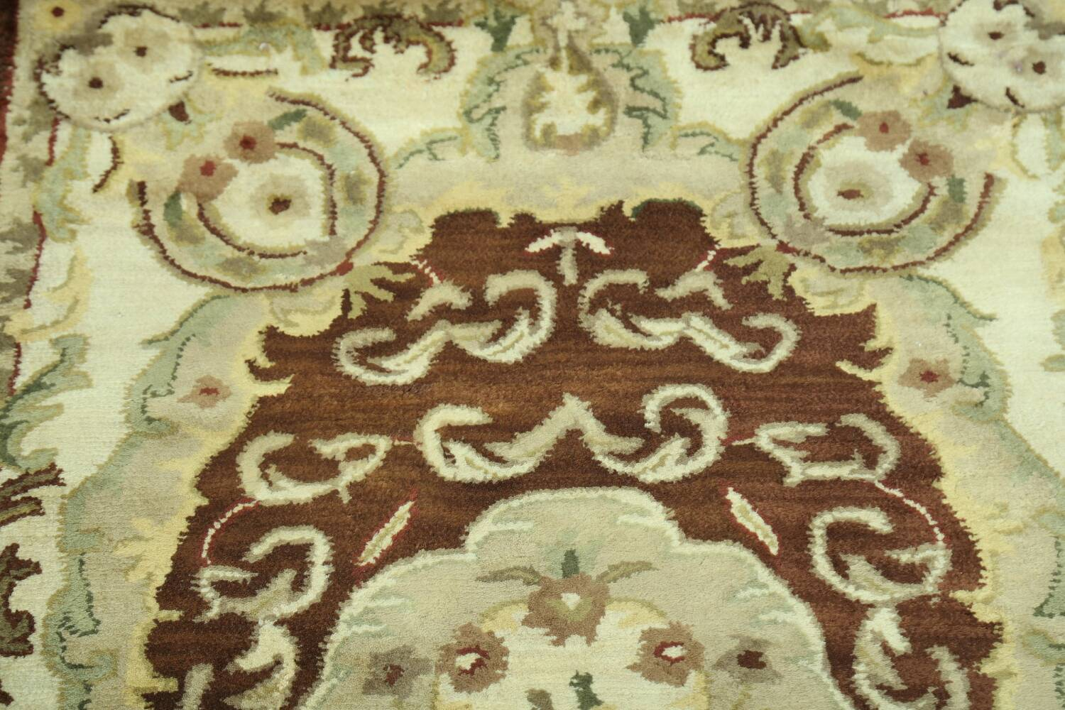 Victorian Style Aubusson Brown Runner Rug 3x9 image 10