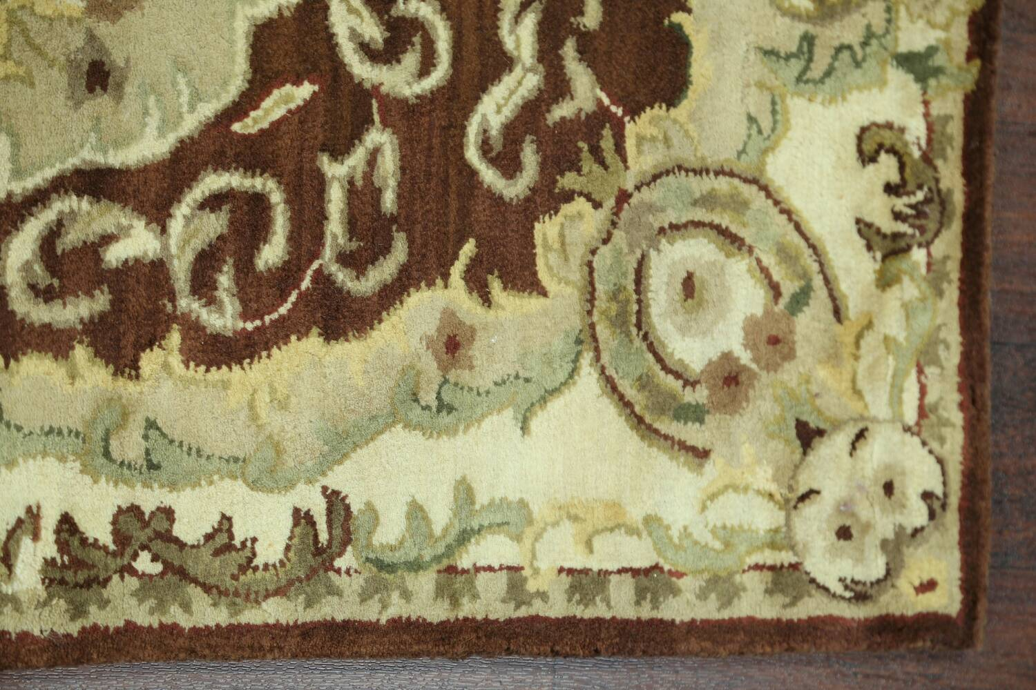 Victorian Style Aubusson Brown Runner Rug 3x9 image 11