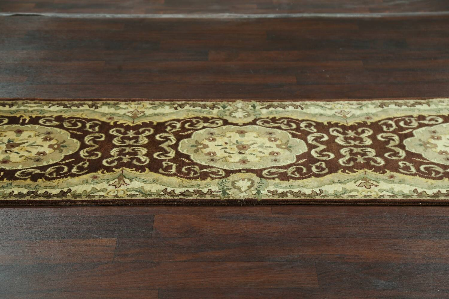 Victorian Style Aubusson Brown Runner Rug 3x9 image 12