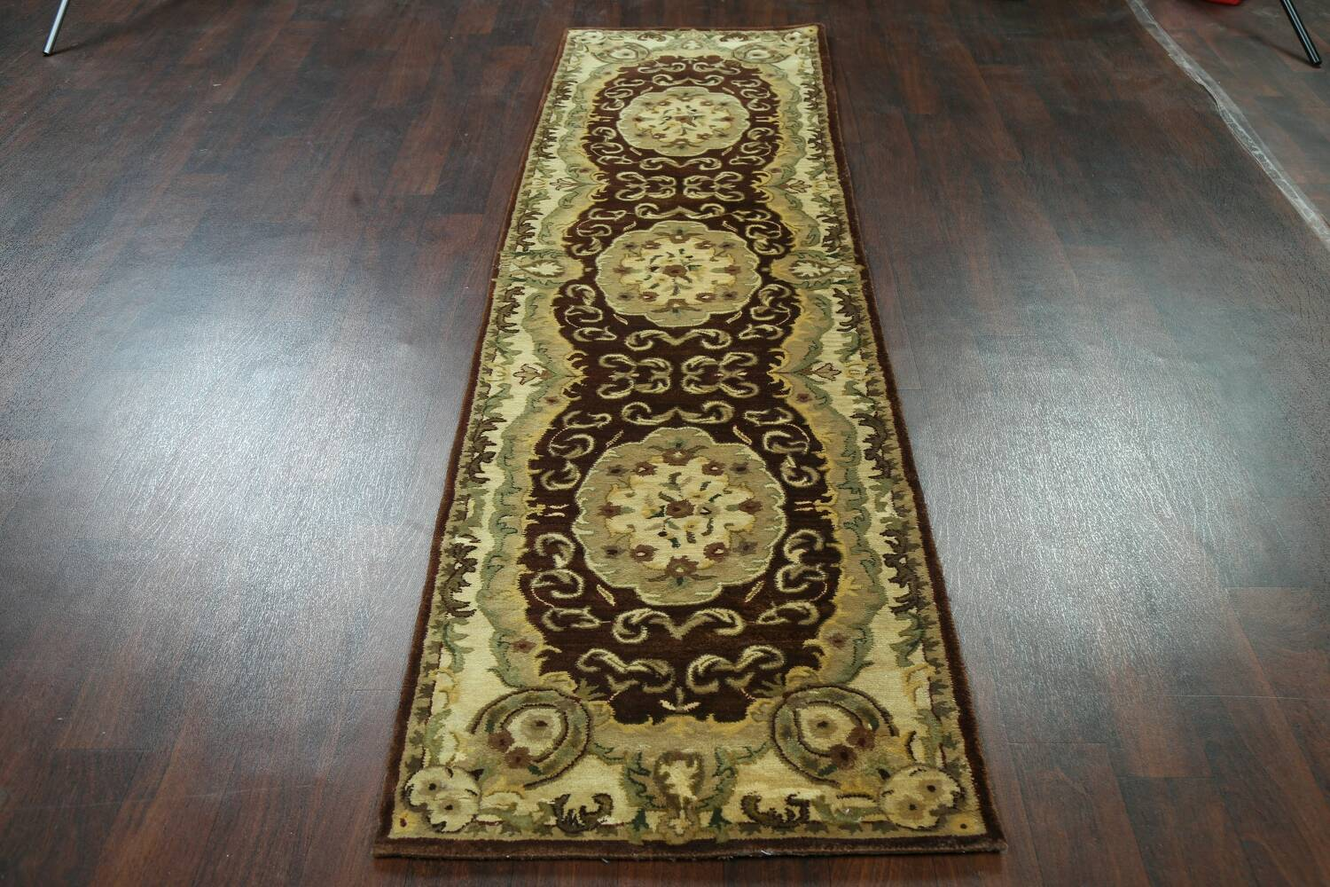Victorian Style Aubusson Brown Runner Rug 3x9 image 13