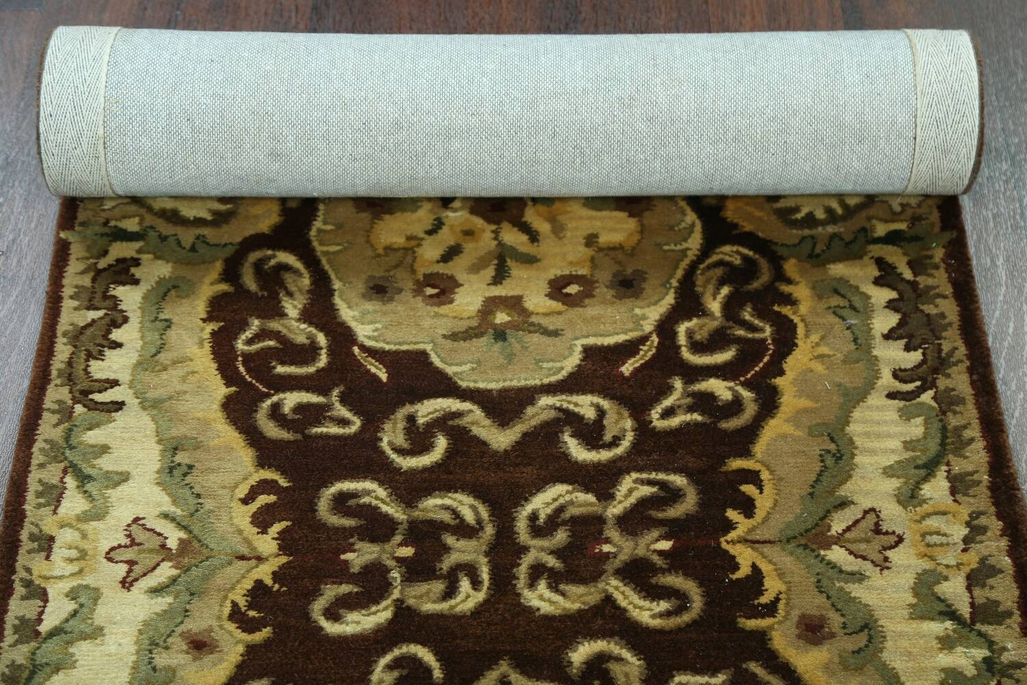 Victorian Style Aubusson Brown Runner Rug 3x9 image 14