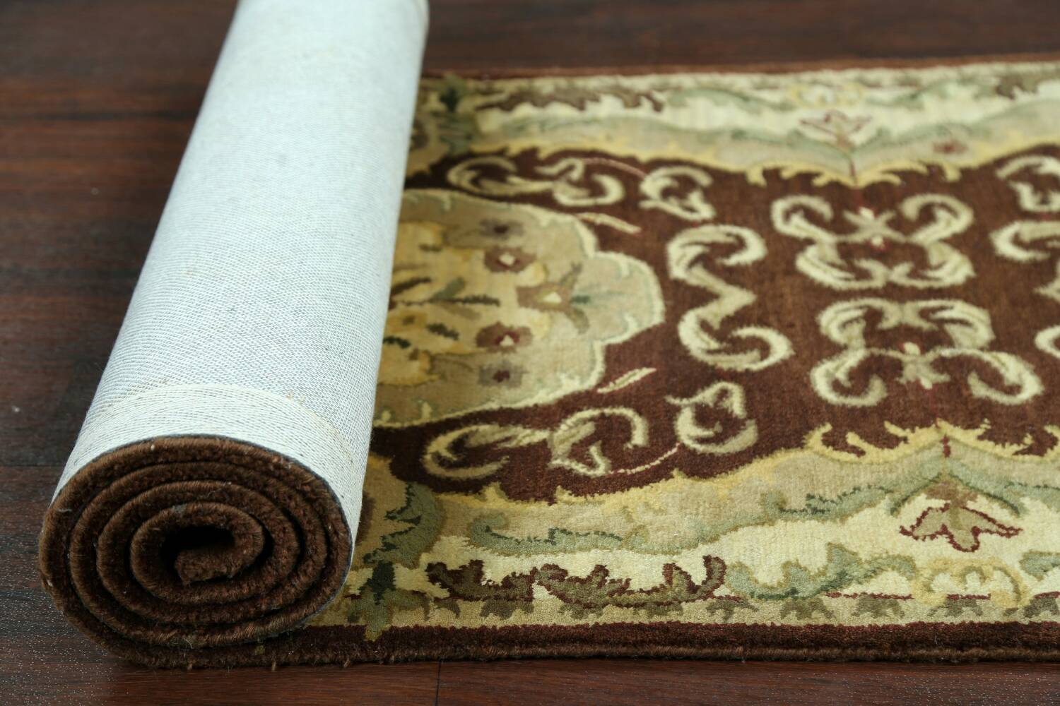 Victorian Style Aubusson Brown Runner Rug 3x9 image 15