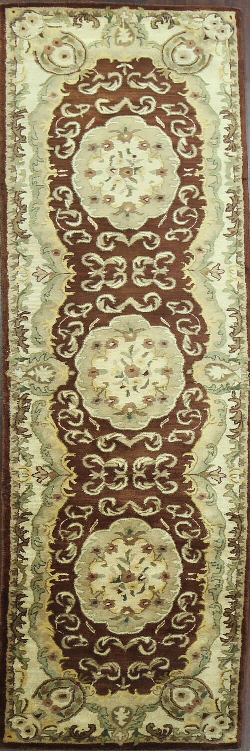 Victorian Style Aubusson Brown Runner Rug 3x9 image 1