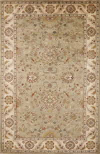 Green Floral Agra Oriental Area Rug 6x9