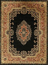 Victorian Style Black Agra Indian Area Rug 9x12