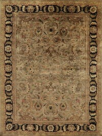 Brown Floral Agra Indian Area Rug 9x12