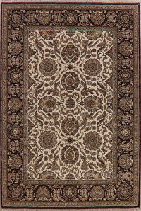 Floral Ivory Agra Oriental Area Rug 6x9