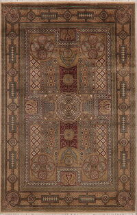 Victorian Style Brown Agra Oriental Area Rug 6x9