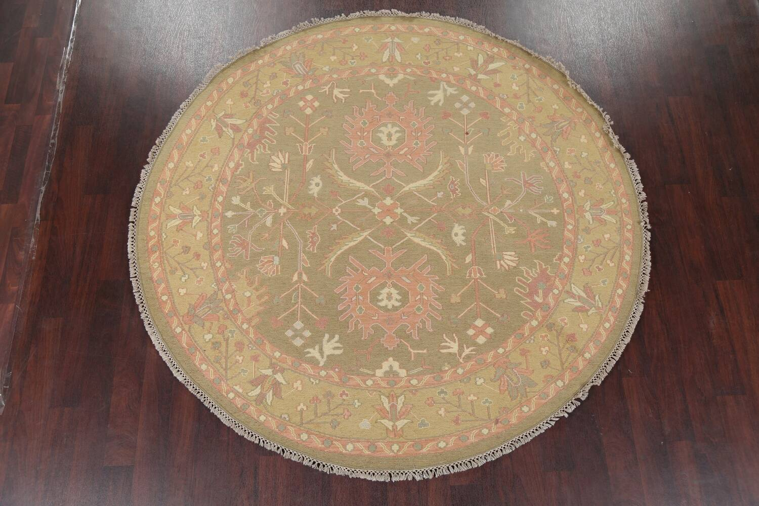 All-Over Green Floral Sumak Oriental Area Rug 8x8 Roud image 2