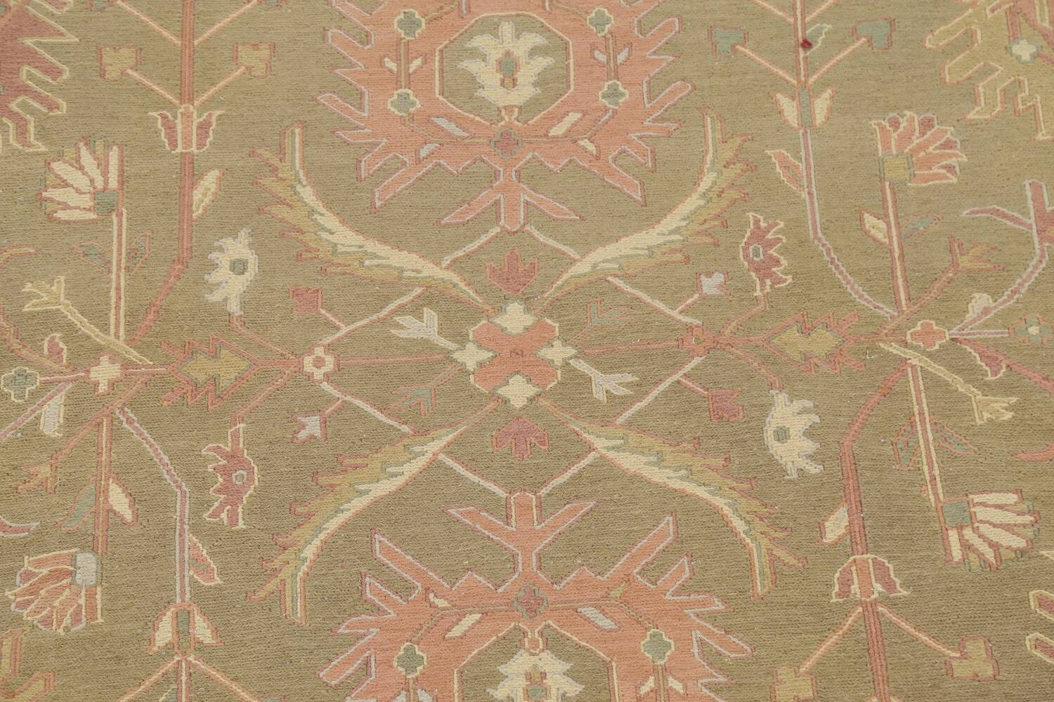 All-Over Green Floral Sumak Oriental Area Rug 8x8 Roud image 4
