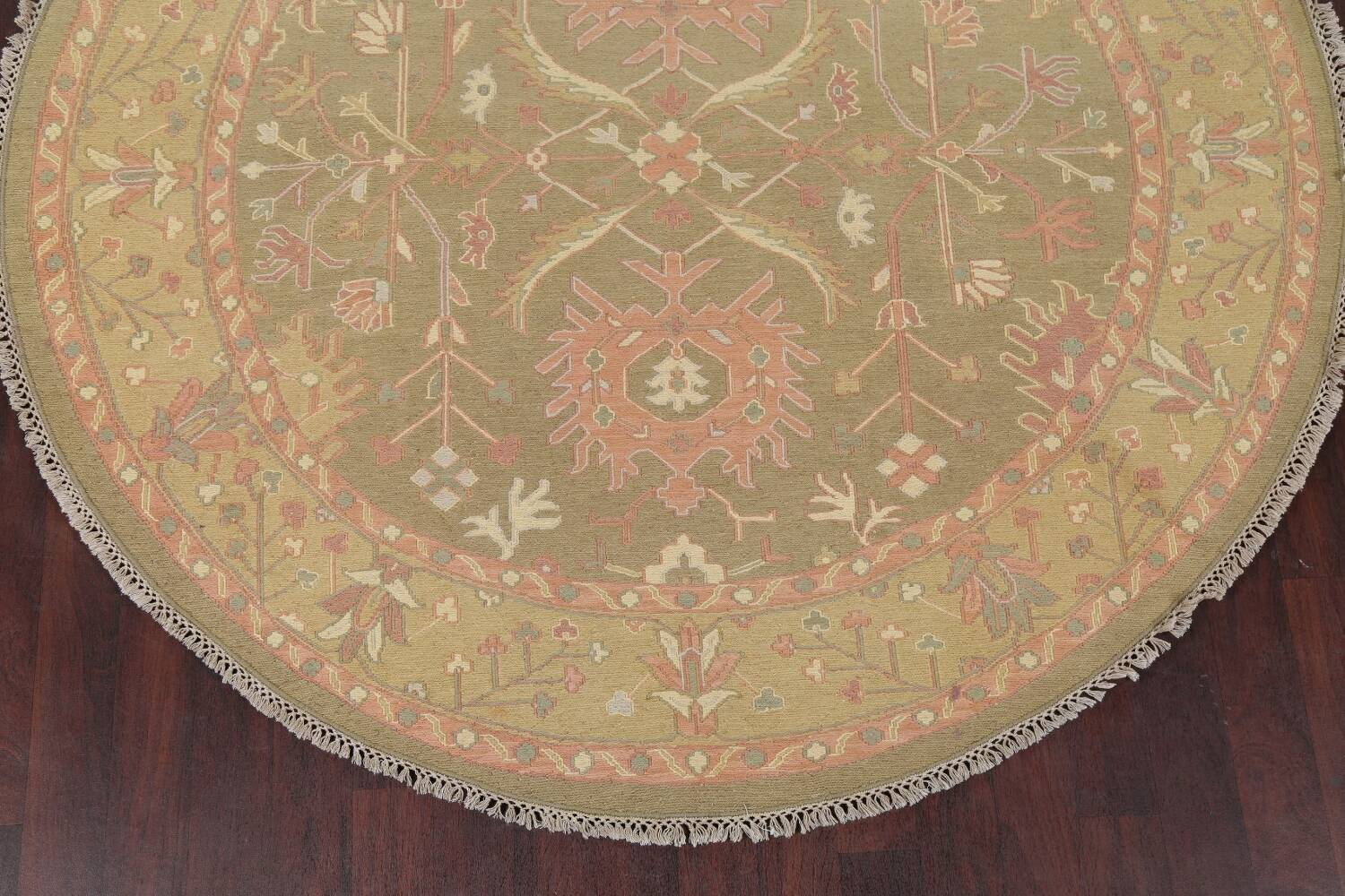 All-Over Green Floral Sumak Oriental Area Rug 8x8 Roud image 8