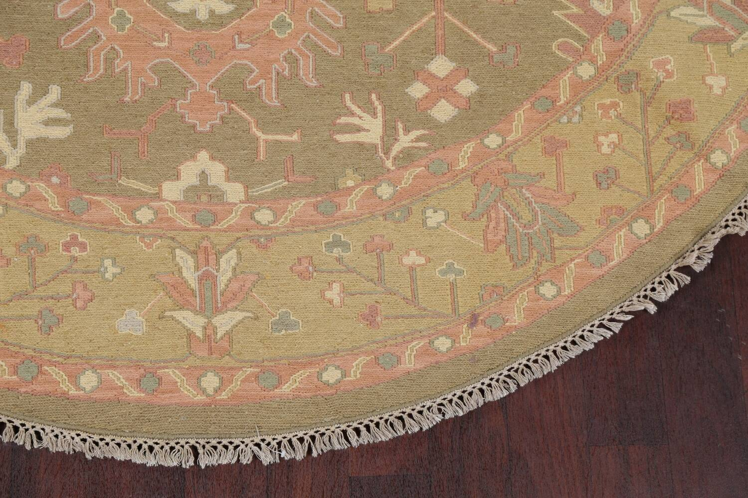 All-Over Green Floral Sumak Oriental Area Rug 8x8 Roud image 5