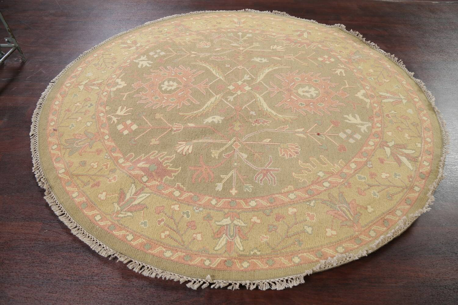All-Over Green Floral Sumak Oriental Area Rug 8x8 Roud image 12
