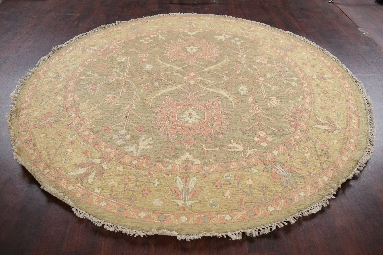 All-Over Green Floral Sumak Oriental Area Rug 8x8 Roud image 13