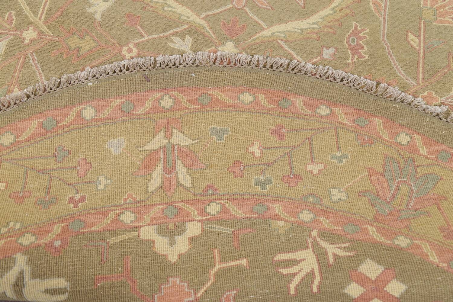 All-Over Green Floral Sumak Oriental Area Rug 8x8 Roud image 7