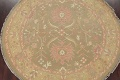 All-Over Green Floral Sumak Oriental Area Rug 8x8 Roud image 3