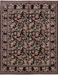 All-Over Black Floral Aubusson Oriental Area Rug 8x10