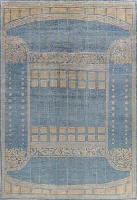 Light Blue Large Pictorial Gabbeh Modern Area Rug 10x15