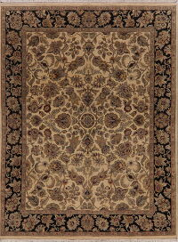 Light Brown Floral Agra Oriental Area Rug 8x10