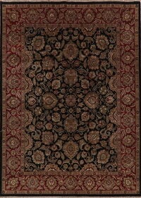 All-Over Black Floral Agra Oriental Area Rug 9x12