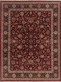 All-Over Floral Red Aubusson Oriental Area Rug 9x11