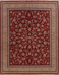 All-Over Floral Red Kashan Oriental Area Rug 8x10