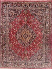 Vintage Floral Mashad Red Persian Area Rug 10x13