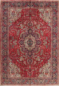 Floral Red Tabriz Persian Area Rug 6x10