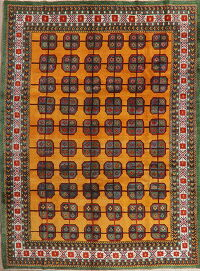 All-Over Geometric Gold Mashad Persian Area Rug 7x10