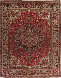Vintage Red Floral Heriz Persian Area Rug 9x12