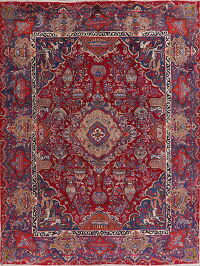 Dynasty Red Pictorial Kashmar Persian Area Rug 10x13