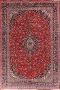 Traditional Floral Red Kashan Persian Area Rug 10x14