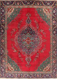 Wool Floral Red Tabriz Persian Area Rug 9x13