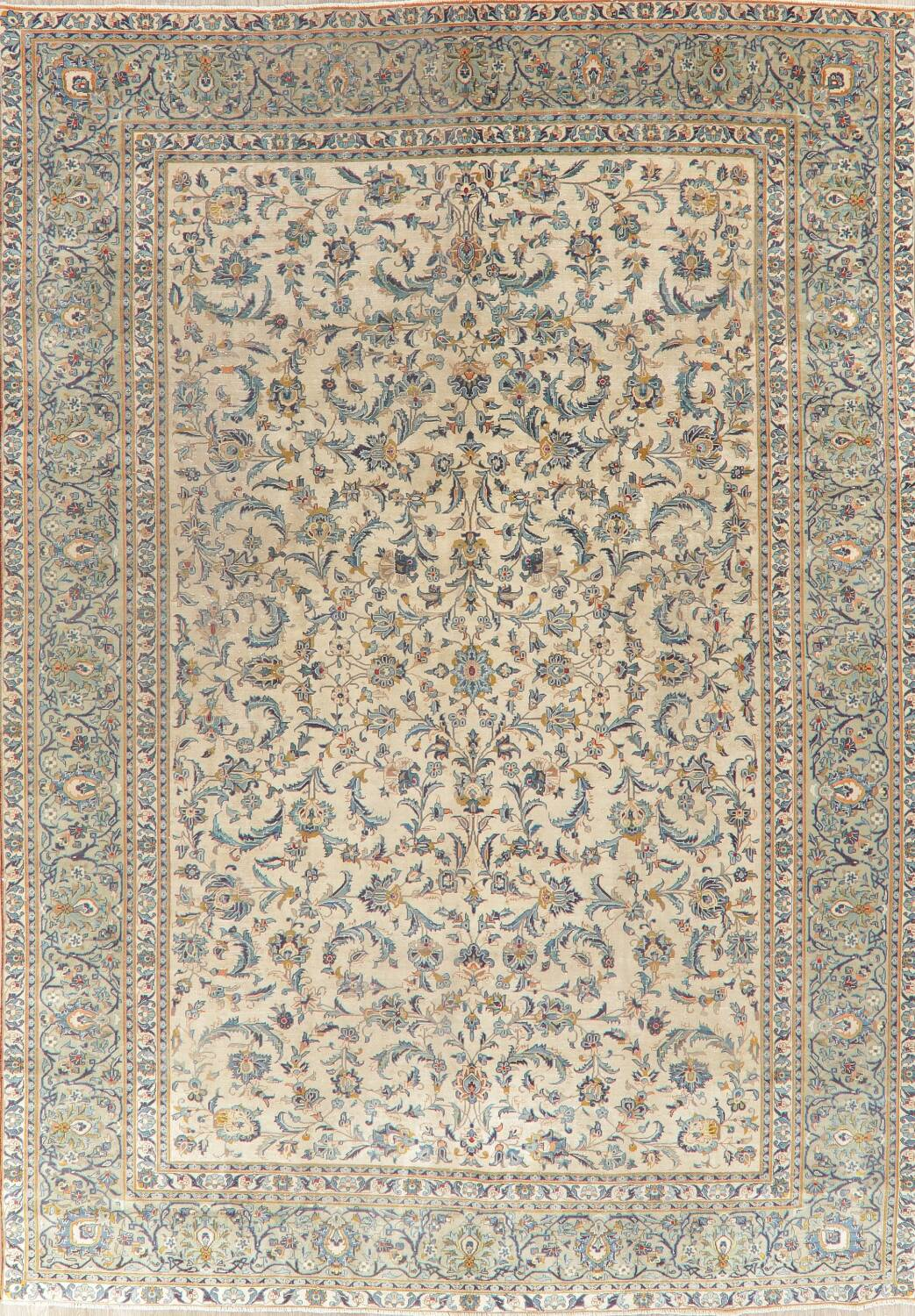 Antique Green Floral Kashan Persian Area Rug 10x14 image 1