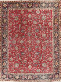 All-Over Floral Red Tabriz Persian Area Rug 10x13