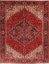 Geometric Red Heriz Persian Area Rug 10x13