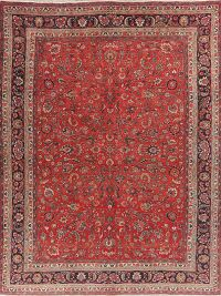 All-Over Floral Red Mashad Persian Area Rug 10x13