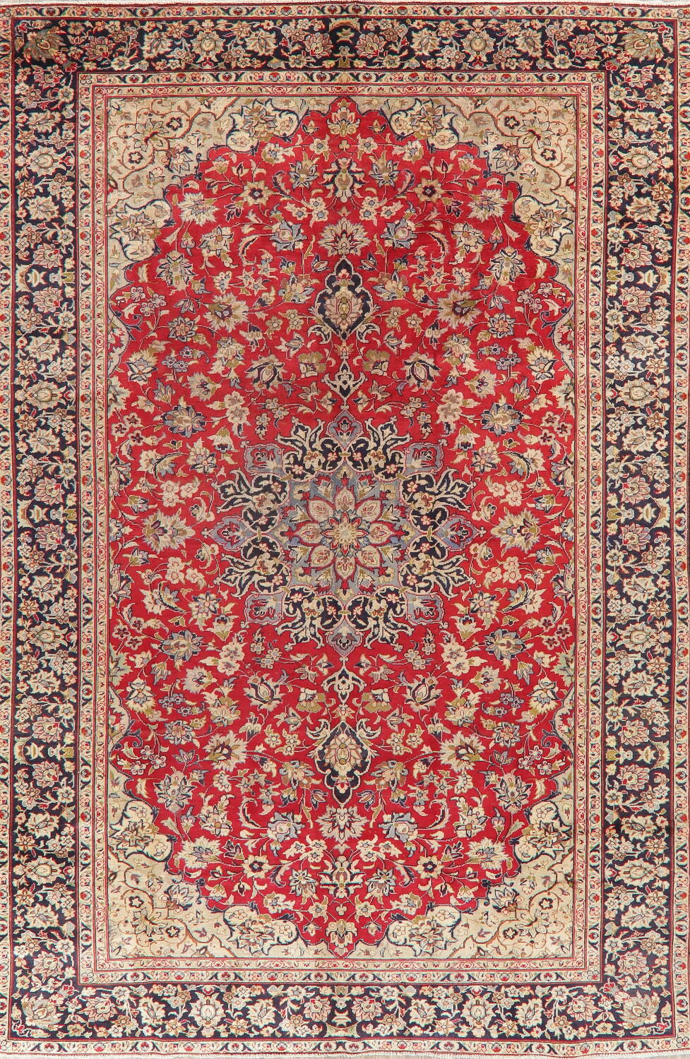 Vintage Floral Red Najafabad Persian Area Rug 8x12 image 1