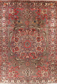 Vintage Brown Bakhtiari Persian Area Rug 8x12